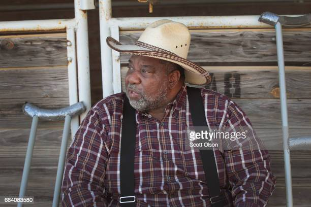 Earl Reed relaxes before the start of competition at the Bill Pickett Invitational Rodeo on April 1 2017 in Memphis Tennessee Reed who group up in...