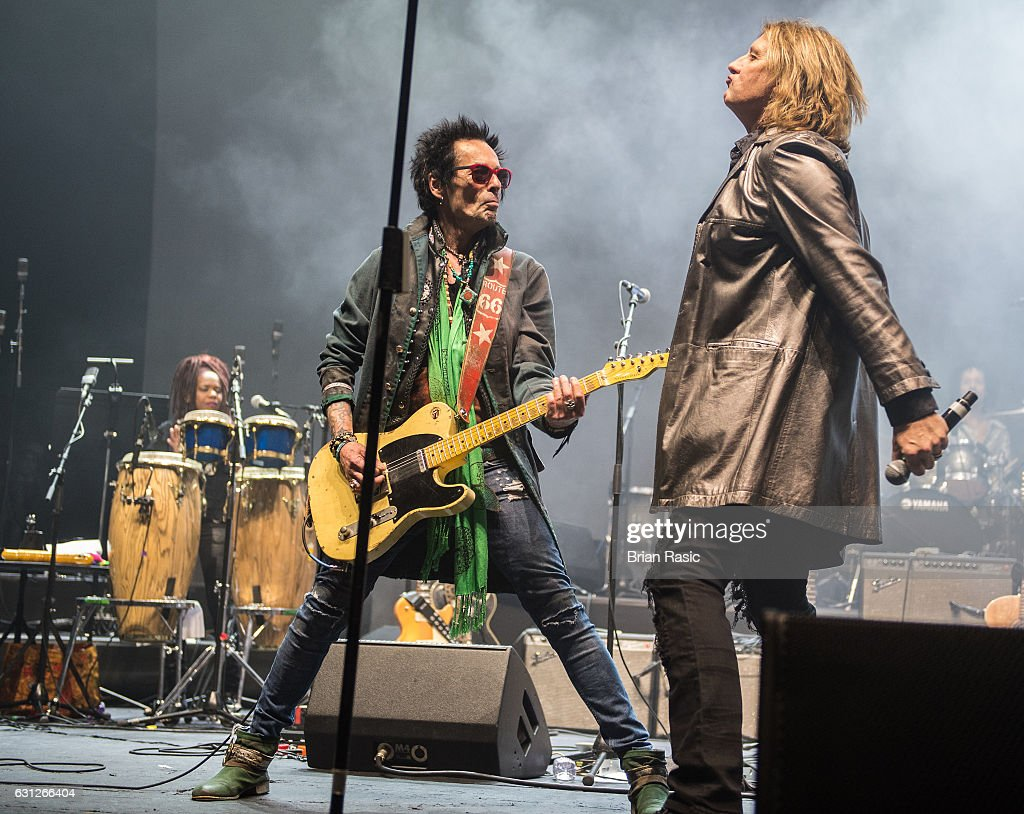 Earl Slick and Joe Elliott of Def Leppard perform during a special concert Celebrating David Bowie With Gary Oldman & Friends on what wold have been Bowie's 70th birthday at O2 Academy Brixton on January 8, 2017 in London, England.