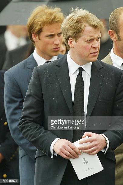 Earl Spencer and his nephew Prince William follow the coffin of Spencer's mother Frances Shand Kydd from the Cathedral of Saint Columba on June 10...