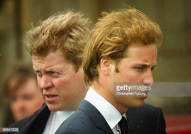 Earl Spencer and his nephew Prince William follow the coffin of Frances Shand Kydd from the Cathedral of Saint Columba on June 10 2004 in Oban Argyll...