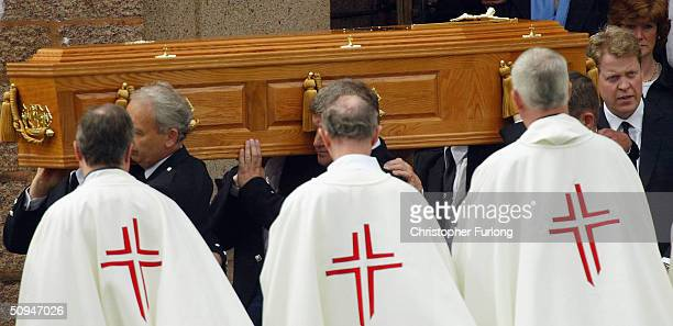 Earl Spencer and his sister Lady Sarah McCorquodale follow the coffin of their mother Frances Shand Kydd from the Cathedral of Saint Columba on June...