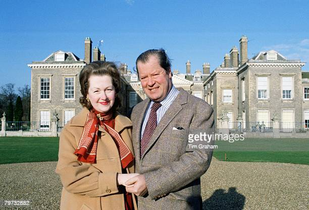 Earl Spencer and his wife Raine in front of their home at Althorpe House