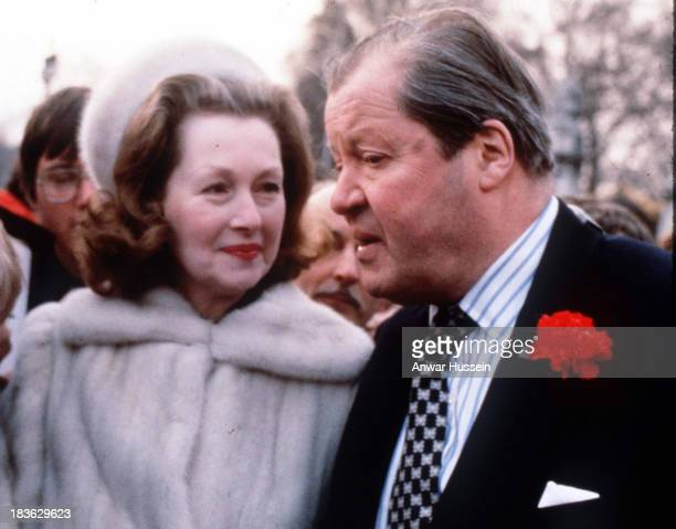 Earl Spencer and his wife Raine Spencer meet the public outside Buckingham Palace after the announcement that Diana Spencer is to marry Prince...