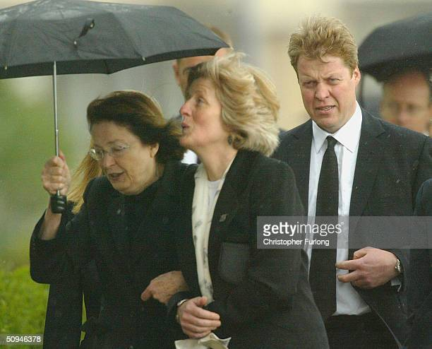 Earl Spencer and members of his family attend the funeral of Princess Diana's mother Frances Shand Kydd at the Cathedral of Saint Columba on June 10...