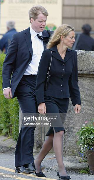 Earl Spencer and wife Caroline arrive for the funeral of Princess Diana's mother Frances Shand Kydd at the Cathedral of Saint Columba on June 10 2004...