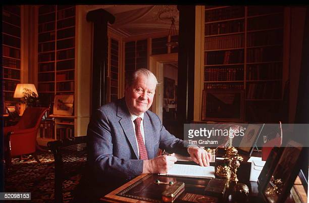 Earl Spencer At His Desk At Home In Althorp House In Northamptonshire On His Desk Is A Photograph Of His Daughter Princess Dianaprincess Of Wales