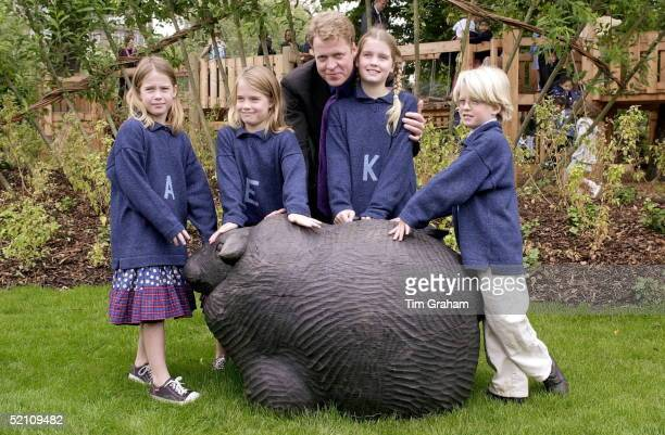 Earl Spencer Brother Of The Princess Of Wales With His Children At The Opening Of The Princess Of Wales Memorial Playground In Kensington Gardens In...