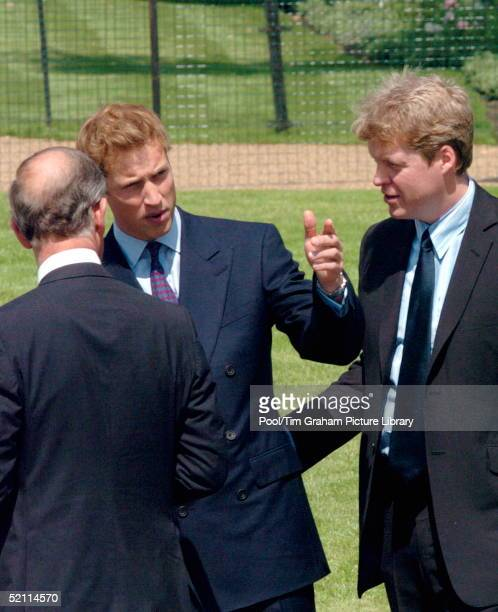 Earl Spencer Chatting With The Duke Of Edinburgh Prince Charles And Prince William At The Opening Of A Fountain Built In Memory Of Diana Princess Of...