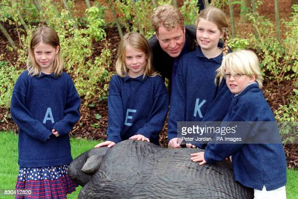 Earl Spencer with his children Amelia Eliza Kitty and Louis at the opening of the Diana Princess of Wales memorial garden in Hyde Park which was...