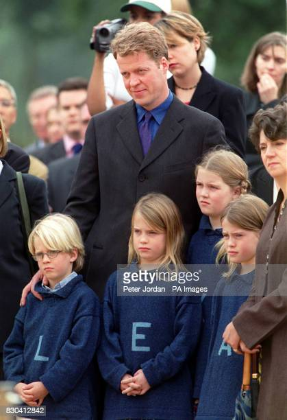 Earl Spencer with his children Louis Eliza Kitty and Amelia at the opening of the Diana Princess of Wales memorial garden in Hyde Park which was...