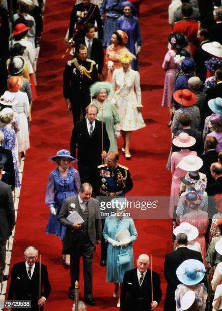 Earl Spencer with Queen Elizabeth II Frances ShandKydd Prince Philip Duke of Edinburgh the Queen Mother Mark Phillips Princess Anne Princess Royal...