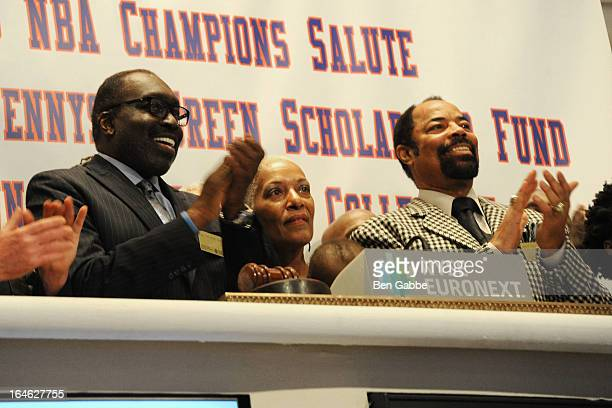 Earl The Pearl Monroe Marita Monroe and Walt Clyde Frazier visit the New York Stock Exchange and Ring The Closing Bell to Highlight the Crown Heights...