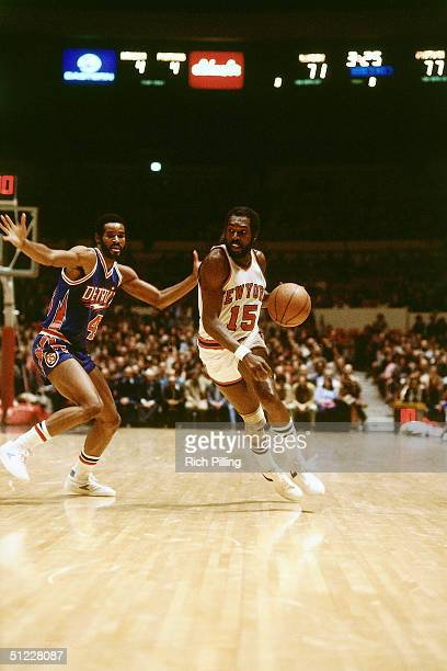 Earl 'The Pearl' Monroe of the New York Knicks drives to the basket against the Detoit Pistons during an NBA game in 1980 at Madison Square Garden in...