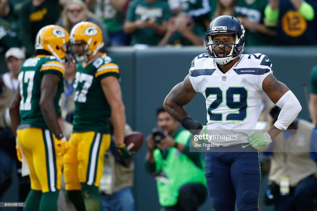 Earl Thomas #29 of the Seattle Seahawks reacts after a third quarter touchdown reception by Jordy Nelson #87 of the Green Bay Packers at Lambeau Field on September 10, 2017 in Green Bay, Wisconsin.