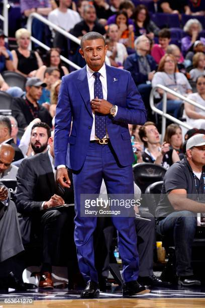 Earl Watson of the Phoenix Suns looks on during the game against the Sacramento Kings on March 15 2017 at US Airways Center in Phoenix Arizona NOTE...