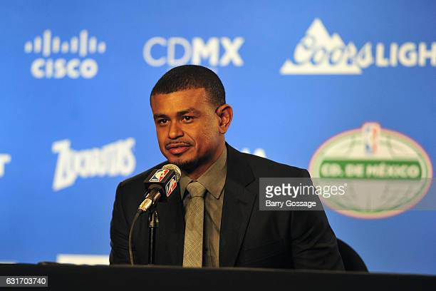 Earl Watson of the Phoenix Suns talks to the media during a press conference after the game against the San Antonio Spurs as part of NBA Global Games...