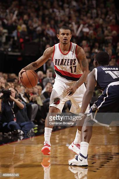 Earl Watson of the Portland Trail Blazers handles the ball against the Oklahoma City Thunder on February 11 2014 at the Moda Center Arena in Portland...