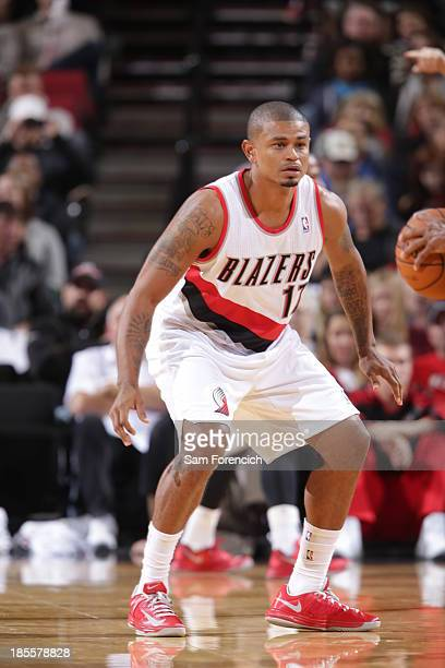 Earl Watson of the Portland Trail Blazers plays defense against the Sacramento Kings on October 20 2013 at the Moda Center Arena in Portland Oregon...