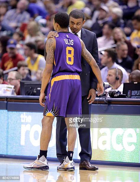 Earl Watson the head coach of the Phoenix Suns talks to Tyler Ulis during the game against the Indiana Pacers at Bankers Life Fieldhouse on November...