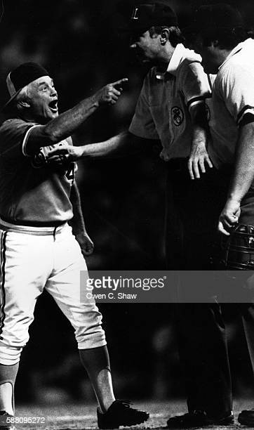 Earl Weaver manager of the Baltimore Orioles circa 1982 makes a point to a umpire at Memorial Stadium in Baltimore, Maryland.