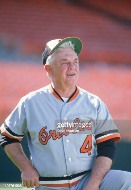 Earl Weaver, Manager of the Baltimore Orioles, waits before a Major League Baseball game against the Oakland A's played in 1986 at the...