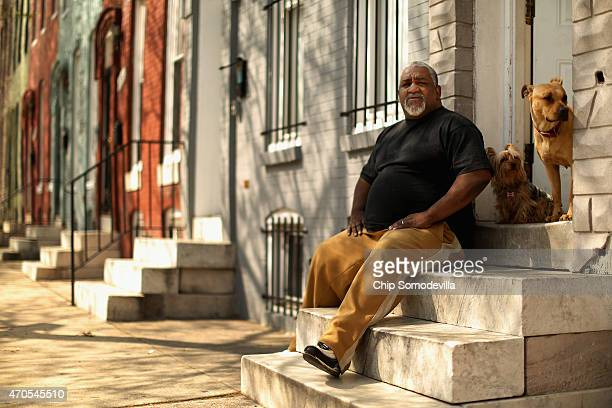Earl Williams a 40year resident of Baltimore's Sandtown neighborhood sits on the steps outside his home around the corner from where Freddie Gray was...