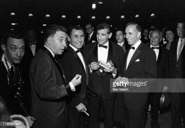 Earl Wilson Stephen Sondheim Leonard BernsteinJerome Robbins outside Sardi's opening night of West Side Story 26th September 1957