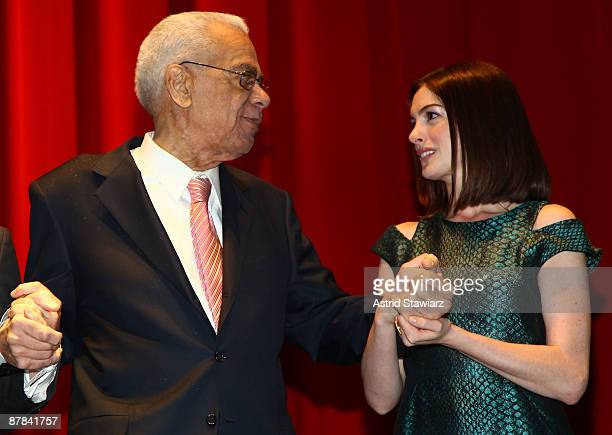 Earle Hyman and Anne Hathaway attend the 54th Annual Village Voice Obie Awards at Webster Hall on May 18, 2009 in New York City.