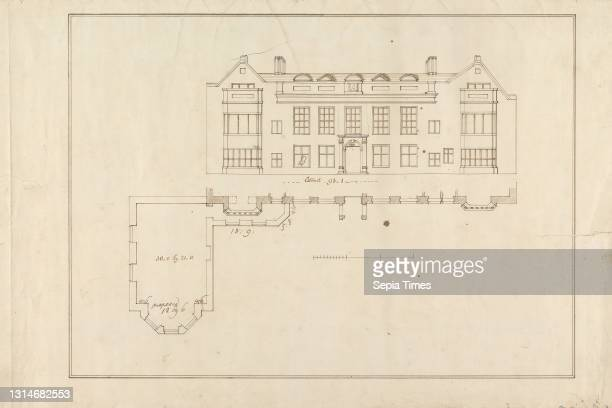 Earlham House, Front Elevation and Footprint, Isaac Johnson, 1754–1835, British, undated, Pen and brown ink on medium, slightly textured, cream laid...