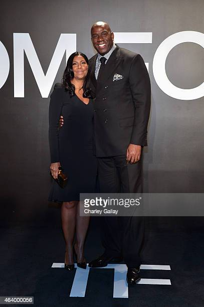 Earlitha 'Cookie' Kelly and Earvin 'Magic' Johnson attend the TOM FORD Autumn/Winter 2015 Womenswear Collection Presentation at Milk Studios in Los...