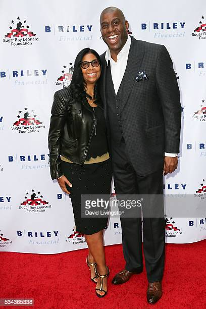 Earlitha Kelly and Magic Johnson arrive at the 7th Annual Big Fighters Big Cause Charity Boxing Night Benefiting The Sugar Ray Leonard Foundation at...
