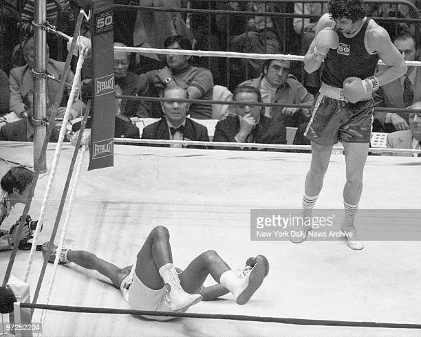 Earlous Tripp goes down after his opponent Gerald Cooney landed solidly in their heavyweight bout at Madison Square Garden Tripp seeking championship...