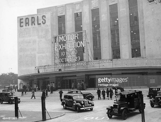 Earls Court Motor Exhibition 1937 The Warwick Road facade of Earls Court exhibition centre advertising exhibits of cars boats and caravans This was...