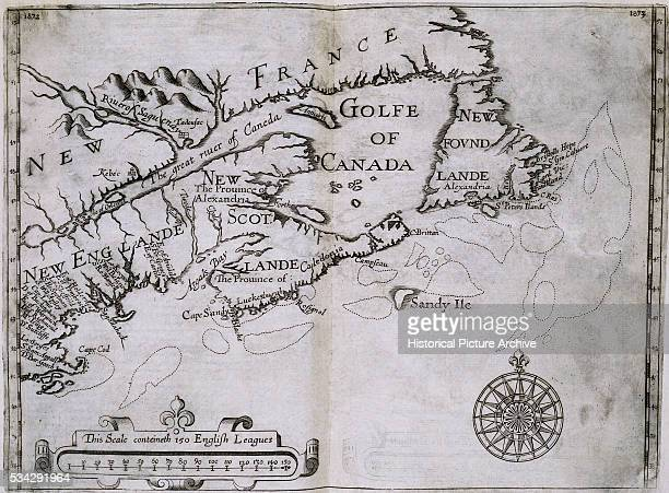 Early 17thCentury Map of the North American Coast from Cape Cod to Newfoundland