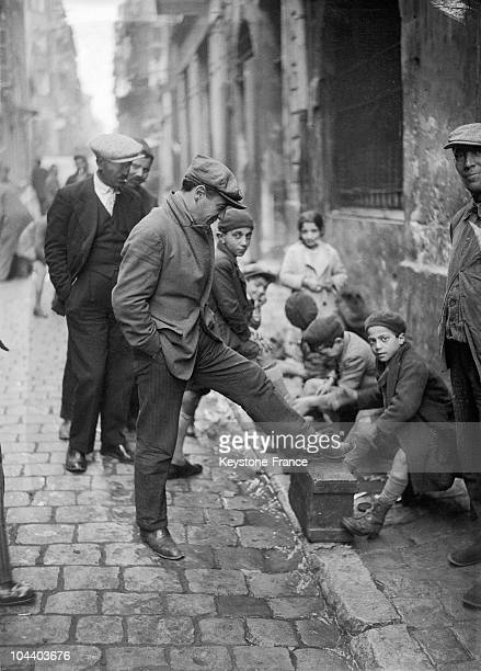 Early 1930s A picture of shoeshiner children in a street of Marseilles The shoe market was near