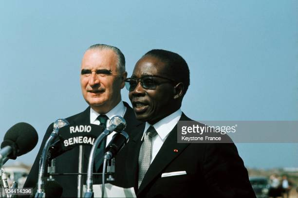Early 1970's.The President of Senegal Leopold Sedar SENGHOR giving a speech for Senegalese radio in presence of the French President Georges POMPIDOU.