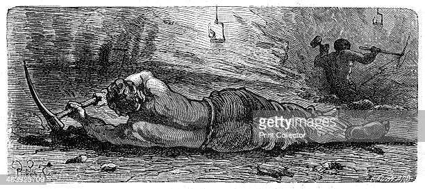Early 19th century coal miner working a narrow seam c1868 The miner stripped to the waist is lying on his side and with a pickaxe is holing out or...