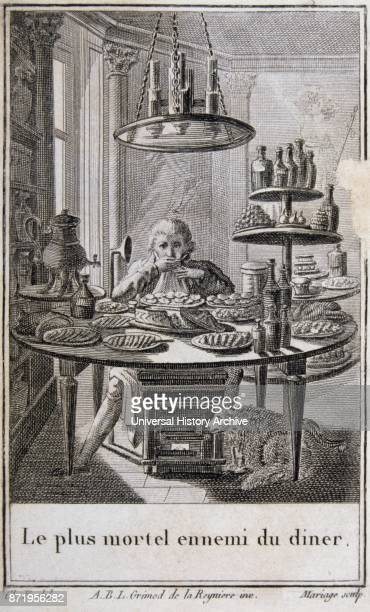 early 19th century French illustration of a man eating a feast alone 1810