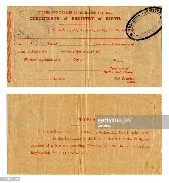 early 20th century british birth certificate - birth certificate stock pictures, royalty-free photos & images