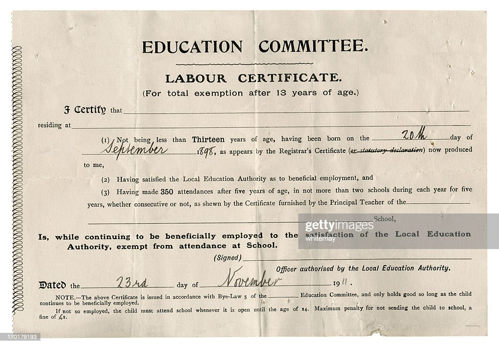 Early 20th Century Certificate Of Exemption From School Stock Photo ...