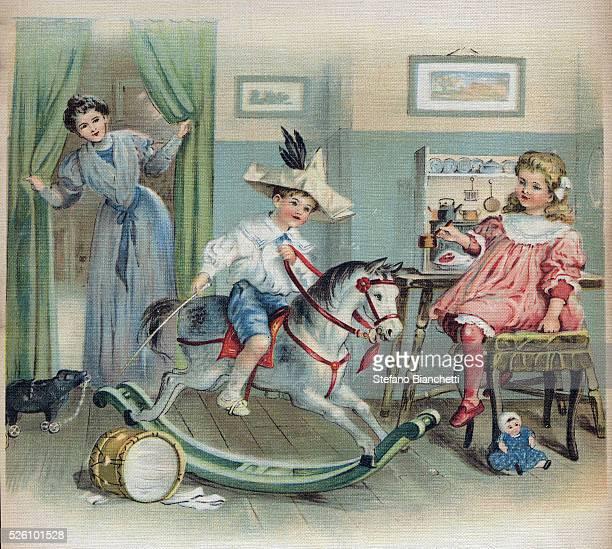 Early 20th century illustration from La journee de Ginette et Raymond