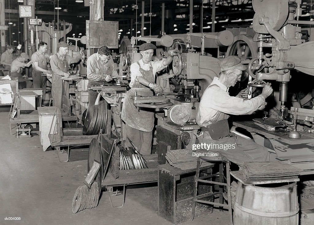 Early 20th century production line : Stock Photo
