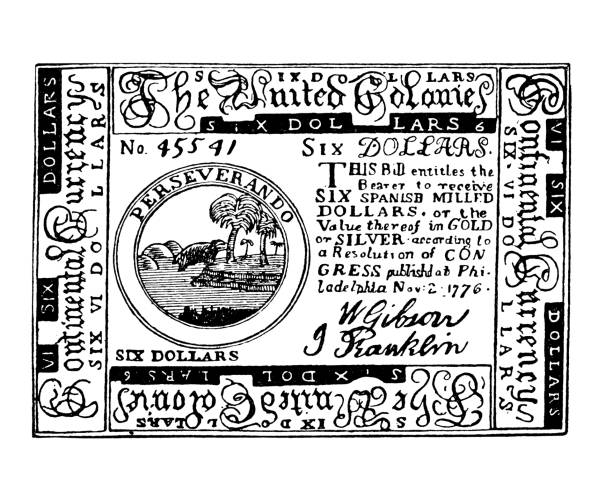 Early American currency, Continental Dollar, first currency of the U.S., introduced by the Continental Congress to finance the war for independence 6$