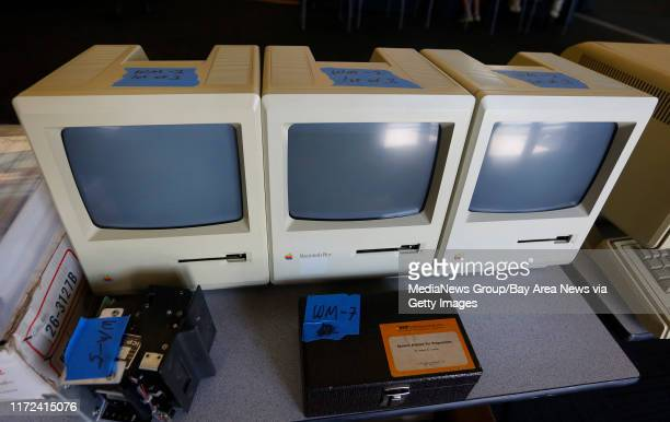 Early Apple computers were offered for sale on consignment during the Vintage Computer Festival at the Computer History Museum in Mountain View,...