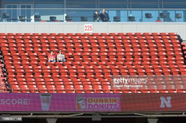 Early arrival fans at the game between the Nebraska Cornhuskers and the Bethune Cookman Wildcats at Memorial Stadium on October 27 2018 in Lincoln...