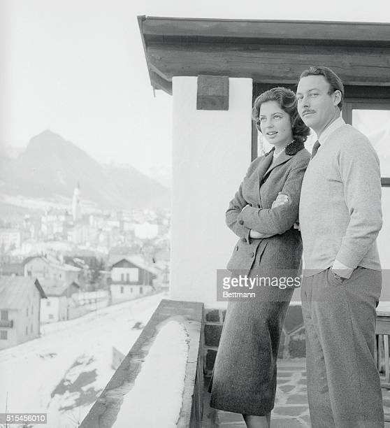 Early arrivals for the 1956 Winter Olympic Games at Cortina D'Ampezzo Italy are Prince Alfonso Maximillian HohenloheLangenberg and his 15yearold...