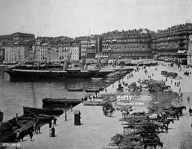 Early autotype of marseille, bouches-du-rhone, france, historical photo, 1884