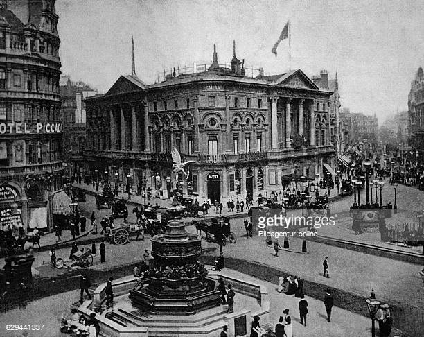 Early autotype of piccadilly circus london england uk historical picture 1884