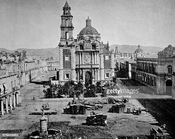 Early autotype of santo domingo square in mexico city mexico america 1880