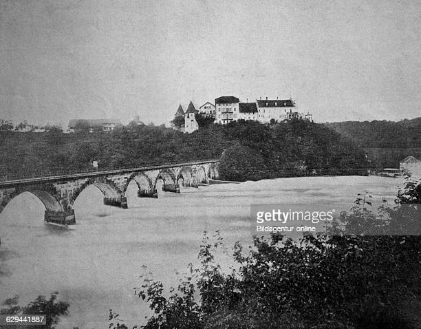 Early autotype of the chateau de laufen or laufen castle canton of zurich switzerland historical photographs 1884